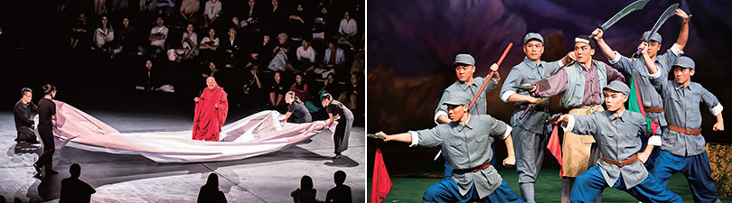 Left) Tsai Ming-liang The Monk from Tang Dynasty, 2015, ACT Right) China national peking opera company, Legend of  red renton, 2015