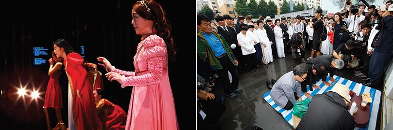 Left) Sung Min Hong JULIETTTTTTT, 2013, performance, balcony scene. Courtesy the artist