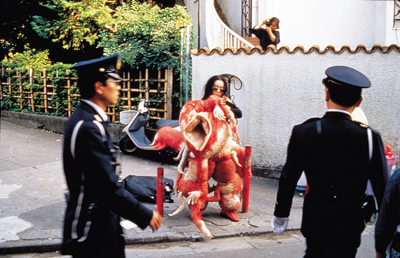 above) Lee Bul Sorry for suffering ? You think I'm a puppy on a picnic?, 1990, 12-day performance, Kimpo Airport, Narita Airport, downtown Tokyo, Dokiwaza Theater, Tokyo. Courtesy Studio Lee Bul