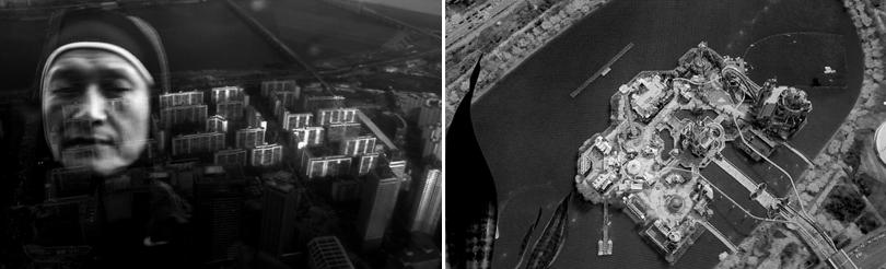 Left) Kim Heecheon, 'Wall Rally Drill', 2015, HD B/W Single Channel Video, 32 min. Right) Kim Heecheon, 'Lifting Barbell', 2015, HD B/W Single Channel Video, 21 min.