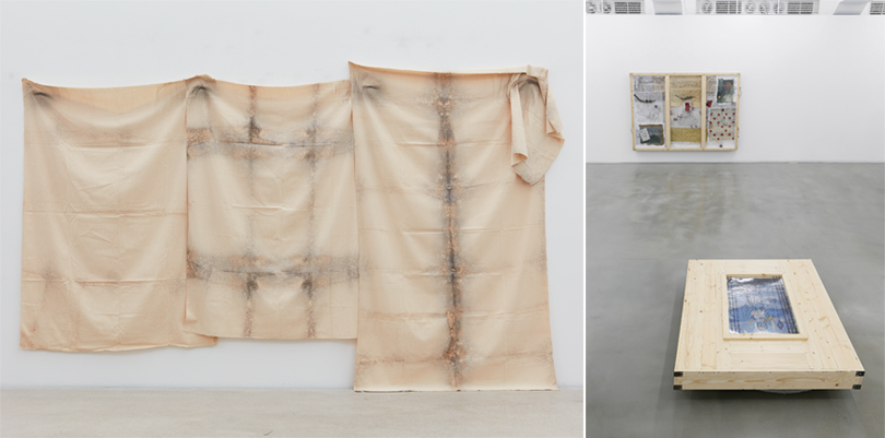 """Left) Kim Yong-Ik, 'Plane Object,' 1977, airbrush on cloth, 200×370cm (approx.)<br /> Right) Exhibition view of Kim Yong-Ik's Solo Exhibition, """"Closer... Come Closer..."""" at Ilmin Museum of Art."""