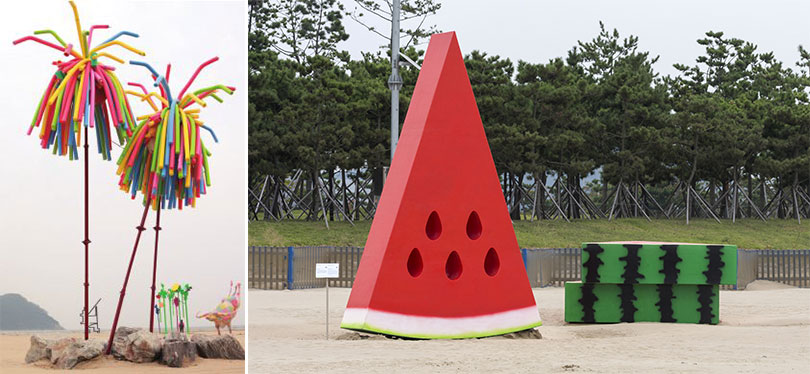 Left) PERBOS, Floride, 2017, Commission for the Sea Art Festival 2017 Right) DO YOUNG JUN, A slice of summer, 2017, Commission for the Sea Art Festival 2017