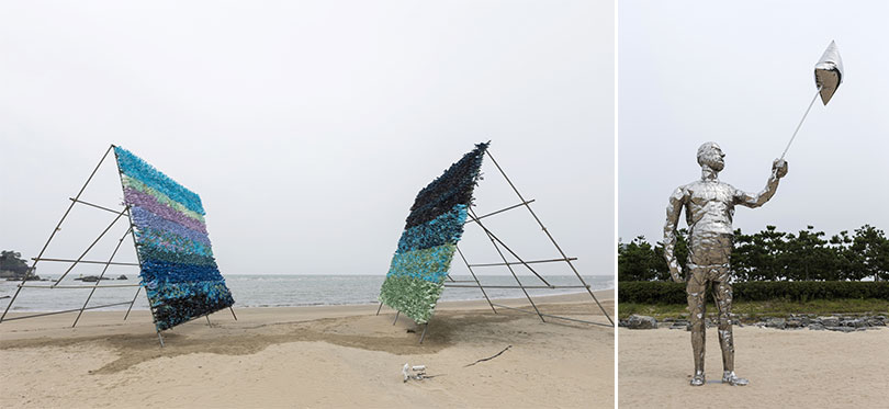 Left) Subodh Kerkar, Moses and the Plastic Ocean, 2017, Commission for the Sea Art Festival 2017 Right) Tae In Kim, Accidental inflation, 2017