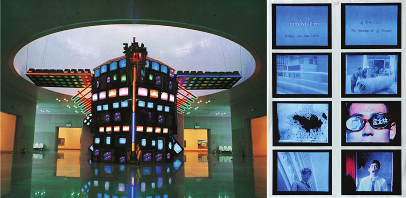 Left) Nam Jun Paik, Fractal Turtleship, 1993, TV, piano, taxidermy turtle, Dimensions variable ⓒ Daejeon Museum of Art Right) Kim Ku-lim, The Meaning of 1/24 Second, 1969 16mm film colour+BW, 9mins 12Sec, Photo credit: Seoul Museum of Art