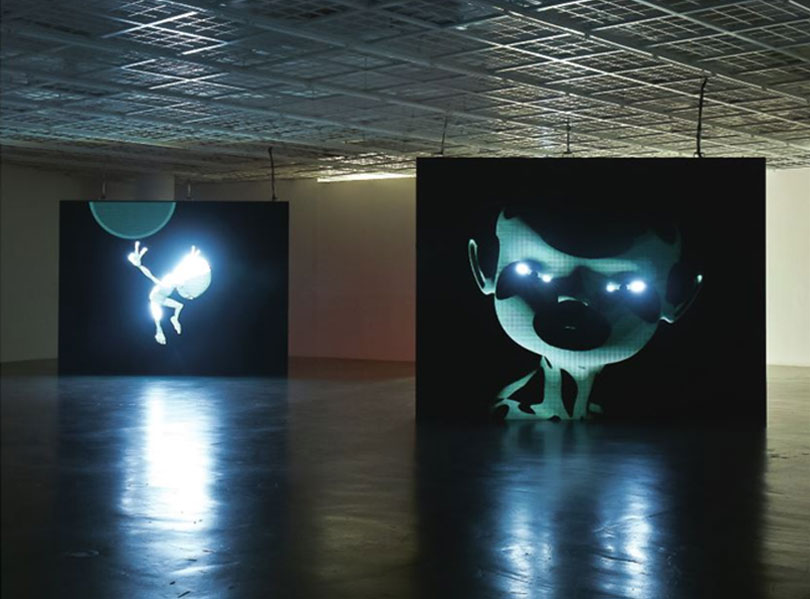 """MYSTERIOUSS (left) / CURIOUSSSA (right), 3D Animation, Black & White (each 3 min / 2mins 31sec), Installation view at Art Sonje Center, 2017. Koo uses the animation medium to present two aspects, mystery and curiosity, of the """"ousss"""" keyword she has used in her work since 1998. In 2007, she worked with the writer Edouard Glissant to publish a work interpreting the nature of """"ousss"""" through special characters."""