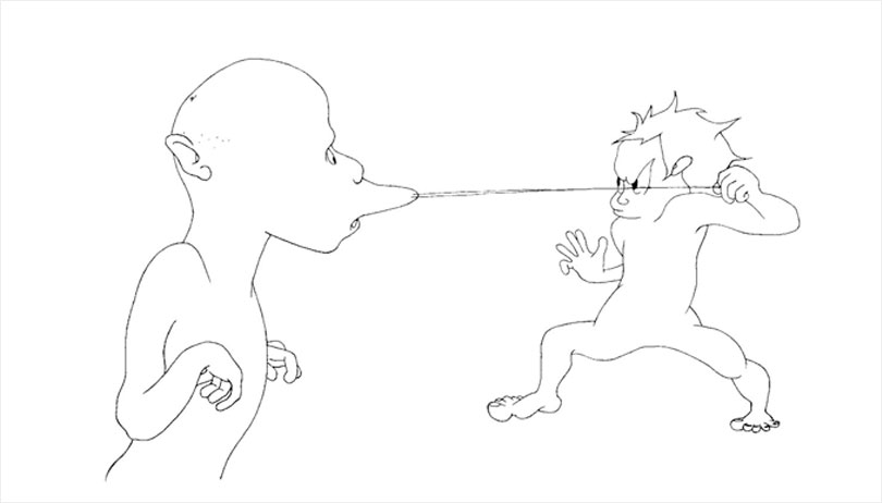 Ki In Sang Bong, Drawing on paper, 84x169cm, 2012. / This drawing shows the encounter between two eccentric characters in unusual poses. The characters in Koo's drawings change location from one work to the next, serving as protagonists in abstract narrative. The artist also produces architectural drawings for site-specific installations.