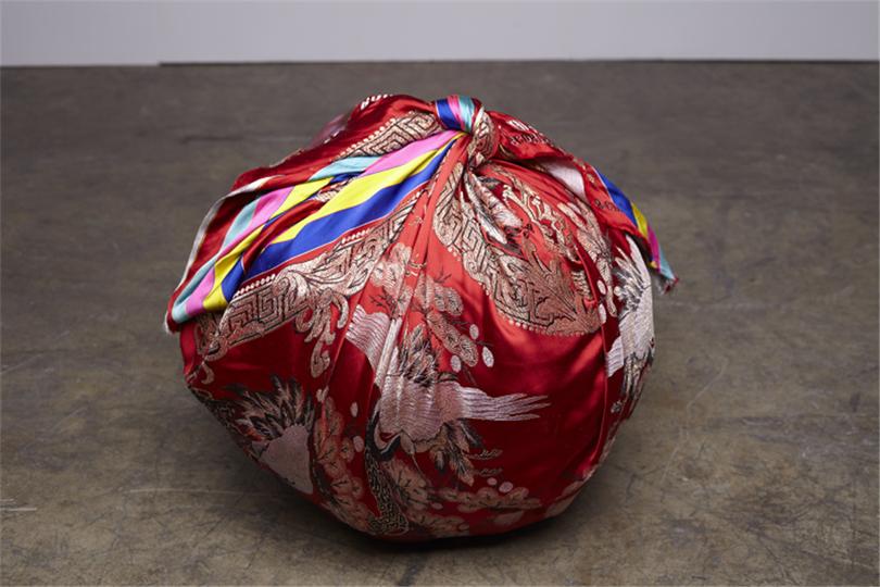 Kimsooja, Bottari (2011). Used Korean bedcovers, used clothing of artist's son, 48.3 x 50.8 x 50.8 cm. Courtesy of Kimsooja Studio. Image provided by Kukje Gallery.
