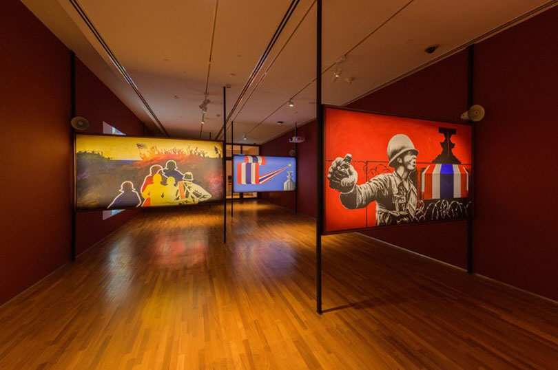 Billboards by United Artists' Front of Thailand. Exhibition view: Awakenings: Art in Society in Asia 1960s–1990s, National Gallery Singapore (14 June–15 September 2019). Courtesy National Gallery Singapore.