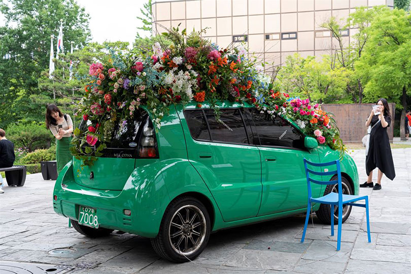An outdoor installation that is part of Ahn Eun-me's