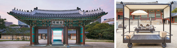 "A digital screenwork titled ""Gate of Bright Lights,"" above, by architecture team Space Popular stands in between the pillars of the Gwangmyeong Gate. Six works titled ""Furniture for an Emperor in Transition"" by CL3 sit in front of the Hamnyeong Hall, right. MMCA"
