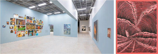 """MMCA Cheongju's latest fine arts exhibition, titled """"The Adventures of Korean Contemporary Painting: I Will Go Away All By Myself,"""" above, kicked off on Sept. 27 and features around 180 works by 17 young artists, such as """"Protagonist_Rosepink 1"""" (2018) by Woo Jeong-su, right. [MMCA]"""