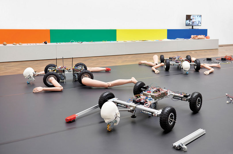 "Installation view of GEUMHYUNG JEONG's ""Homemade RC Toy,"" Kunsthalle Basel, 2019. Photo by Philipp Hänger. Courtesy the artist and Kunsthalle Basel."