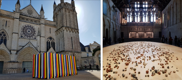 "Left: A shipping container covered with obangsaek in the square of the city's landmark Poitiers Cathedral. It is artist Kimsooja's new piece titled ""Bottari 1999-2019."" Right: Kimsooja's performance installation ""Archive of Mind"" at the Palace of the Dukes of Aquitaine. MOON SO-YOUNG"