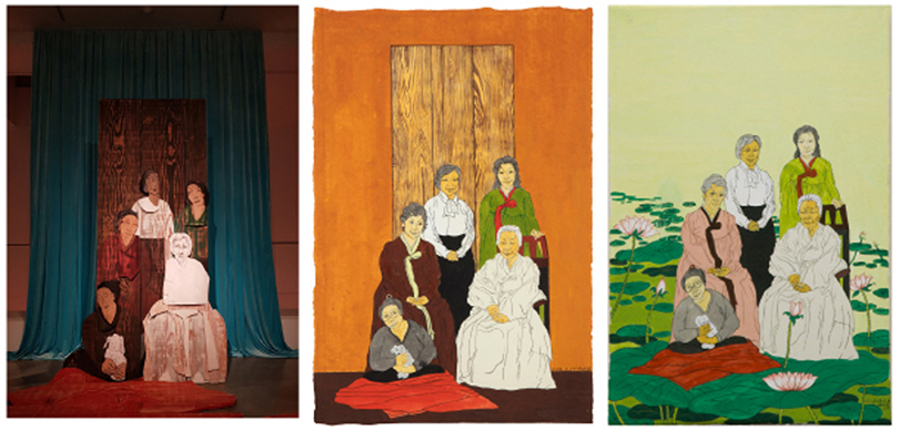 The variations of Yun Suknam's 〈We are a matrilineal family〉(2018), based on her family photo, into an installation of sculptures, left, and two paintings of traditional color pigments on hanjj, middle and right. All of them are on view at Hakgojae Gallery in central Seoul. ⒸMOON SO-YOUNG ⒸHAKGOJAE