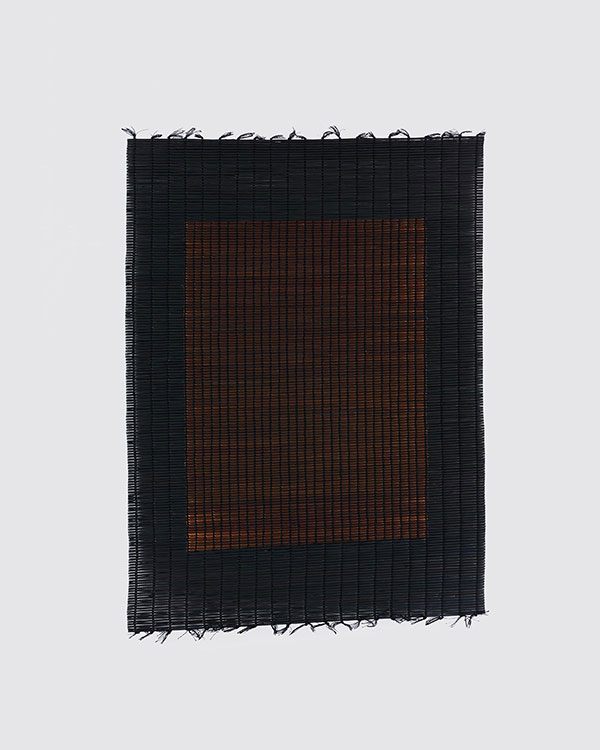 Suki Seokyeong Kang, Mat Black Mat 61×81 #18-03 (2018). Thread, woven dyed Hwamunseok. 63 × 84.5 cm. Courtesy the artist. Photo: Kyoungtae Kim.