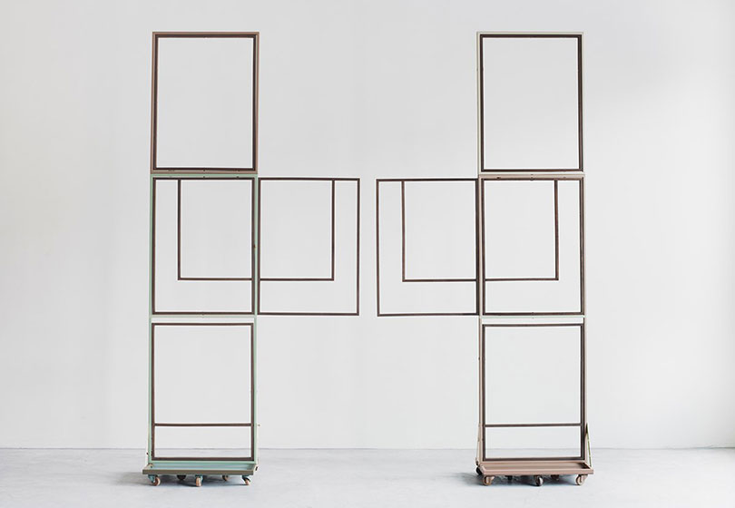 Suki Seokyeong Kang, Jeong (2014–2015). Assembled units, painted steel, wood frame, wood wheel. Dimensions variable. Courtesy the artist.