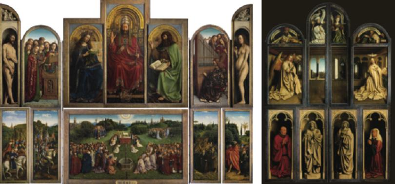(Left) Jan van Eyck, The Ghent Altarpiece, open view, 350 × 461 cm, c. 1430–1432. (Right) Jan van Eyck, The Ghent Altarpiece, closed view, 350 × 223 cm, 1432.