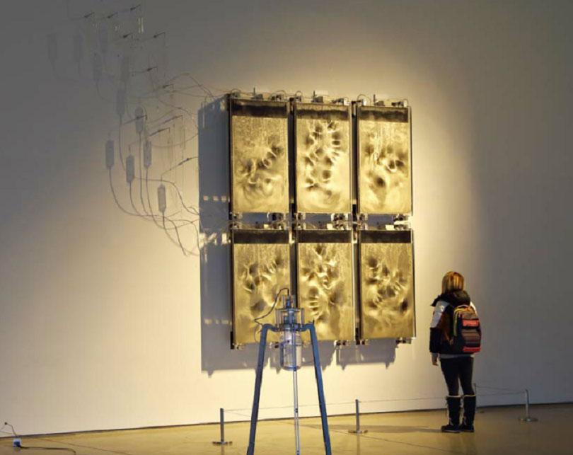 Yunchul Kim, 〈Effluge〉, 2012–2014. Acryl, glass, aluminum, photonic crystal, neodymium, magnet, motor, microcontroller, electromagnetic field generator, air pump, 410 × 160 cm (dimensions variable).