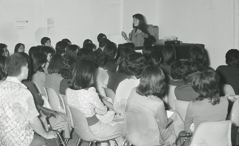 """During a conference at the """"Soungui Kim Art Festival"""" held at the American Center in 1975."""