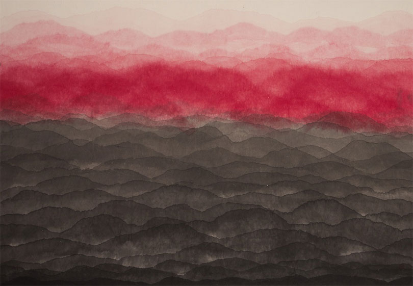 Minjung Kim, 〈Mountain〉, 2017. Ink and watercolor on mulberry Hanji paper, 133 x 187 cm. ©The artist ©Robilant+Voena Gallery