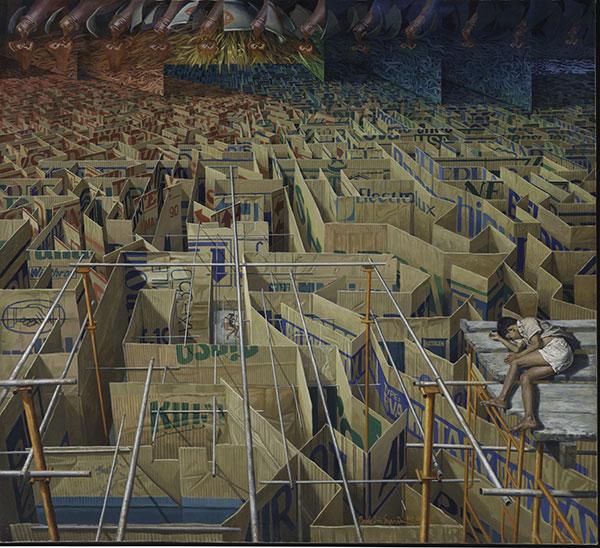 데데에리 수프리아, 〈미궁〉, 1987_1988. 캔버스에 유채, 207×227.5cm. ⓒ퀸즐랜드미술관 소장
