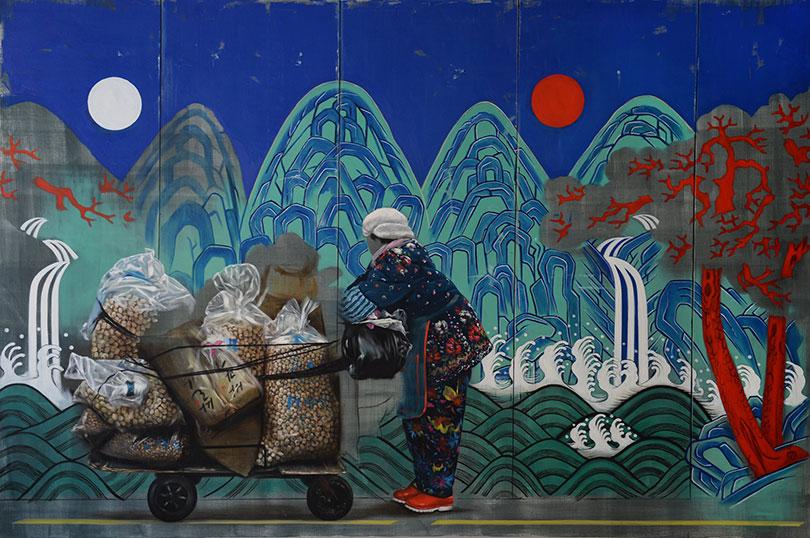 헬레나 파라다 김, 〈The sun and the moon〉, 2018. Oil on linen, 200 x 300 cm. ⓒthe artist and CHOI&LAGER Gallery Cologne/Seoul