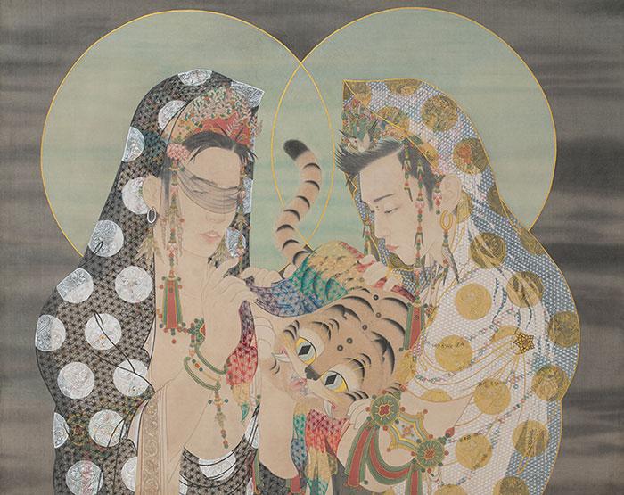 박그림, 〈심호도-간택〉, 2018. 비단에 채색, 70 x 92 cm. ⓒ작가 ⓒ두산아트센터