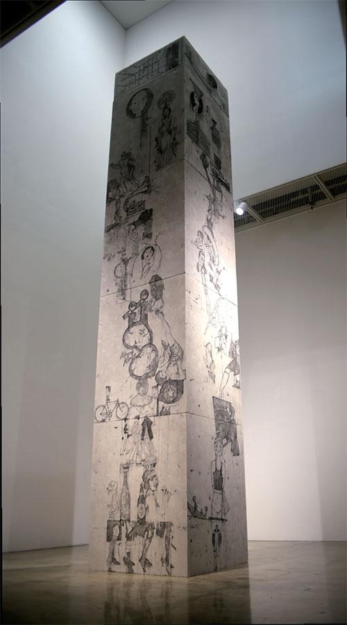 이재훈, 〈초원의 결투를 위해(For a fight on the green field)〉, 2017. 수묵, 혼합재료, 90×90×460cm. 사진ⓒ전남국제수묵비엔날레