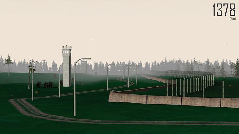 옌스 스토버, 〈1378(km)〉, 2010. 게임 '하프-라이프2'(2004)에 기초한 비디오 게임 보드 PC, 《뉴 게임플레이》 전시