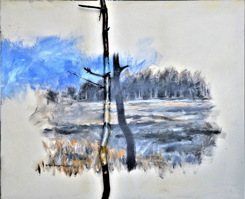 김구림, 풍경(Landscape), 1987. Acrylic on Tree Branch and Canvas, 142.0×174.0cm.