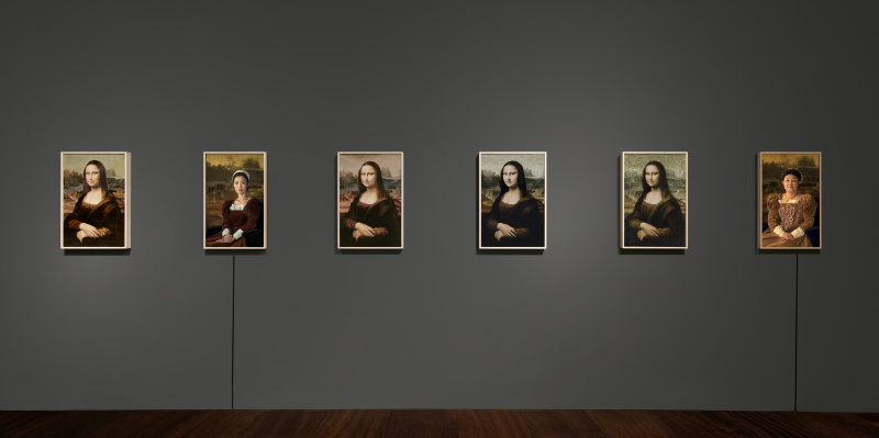Installation view of Kyungah Ham Mona Lisa and the Others from the North