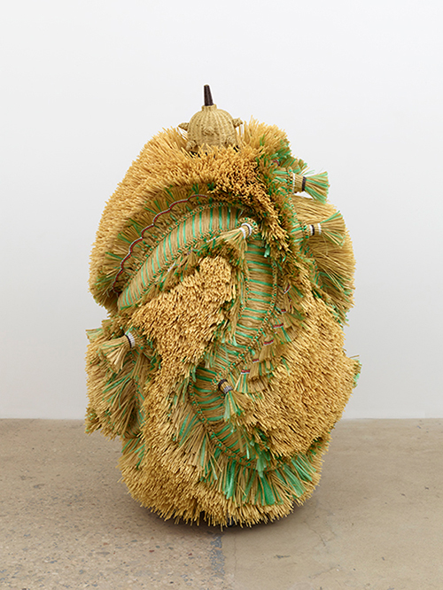 Haegue Yang, 2016, 'The Intermediate – Dragon Conglomerate', artificial straw, steel stand, powder coating, casters plastic twine, 180 x 115 x 114.9 cm. Image courtesy the artist and Greene Naftali, New York. Photograph by Elisabeth Bernstein.